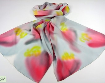 Light Gray Pink Yellow Silk Scarf Hand Painted, Abstract floral scarf, Spring scarf, Batik, Women Fashion Scarf, Gift Her Wife Mom Birthday