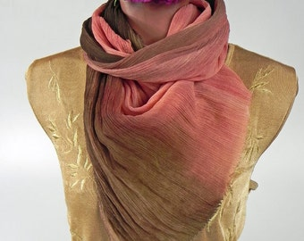 Spring Pink Brown Silk Scarf, Fall Chiffon Crinkled Scarf, Wrap, Soft Pleated, Hand dyed Silk, Gift Her Wife Mom
