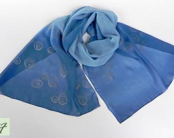 Blue Silk Scarf Hand Painted, Chiffon scarf, Spring light scarf, Modern, Gift Wife Mom Girlfriend, Batik, Holiday Gift, Women Fashion Scarf