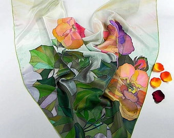 Rose Silk scarf square, hand painted, green pink purple, Spring Floral scarf, womens birthday gift, wearable art, gift wife mom
