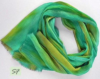 Spring gift her, Turquoise Olive Green Silk Scarf, Chiffon, Crinkled Silk, Fall Scarf, Soft Pleated, Hand dyed Ruffled Scarf, Gift Her
