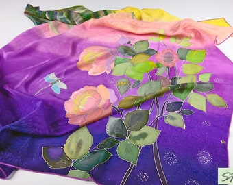 Roses and Dragonfly Silk scarf square hand painted, Pink purple silk scarf, Floral scarf, womens birthday gift, wearable art, gift wife mom