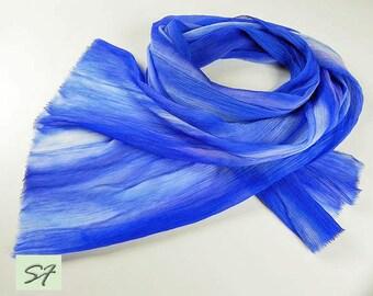 Blue Silk Scarf Chiffon, Crinkled Silk, Soft Pleated Hand dyed silk scarf, Gift Wife or Girlfriend, Women Fashion Scarf