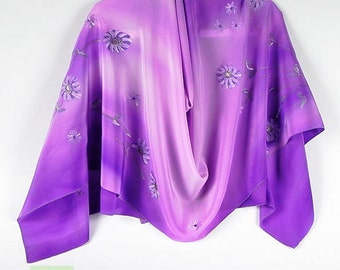 Floral Purple Large Silk Scarf Wrap Hand Painted, Batik, Unique Holiday Womens Gift Birthday, Women Party scarf, Gift Wife Girlfriend Mom