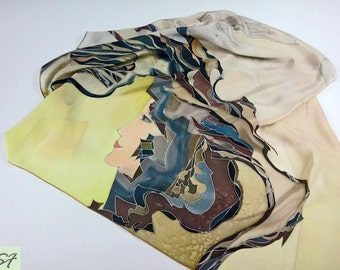 Pastel Gray Beige Brown Silk scarf square Hand Painted, Face women scarf, Gift Wife Mom Girlfriend, Unique birthday Gift, Wearable art