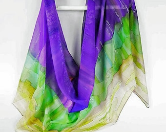 Purple Green Brown Silk Scarf Wrap Hand Painted, Chic Fall scarf, Gift Birthday, Large Long Chiffon Scarf, Chic Gift Wife Her, Party scarf