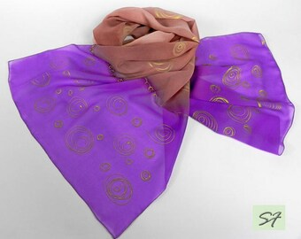 Purple Pink Hand Painted Silk Scarf, Chiffon Scarf, Women Gift, Modern Art, Gift Her Wife Mom, Art Nouveau, Women Fashion Scarf