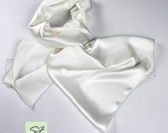 White silk scarf for men, satin scarf, spring scarf gift, soft elegant scarf each day, chic men gift birthday, gift him father