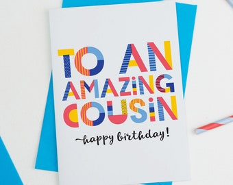Amazing Cousin Personalised Card
