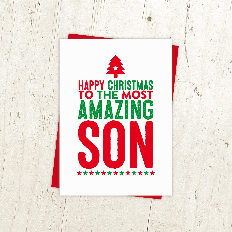 Happy Christmas Son Card Son Christmas Card Xmas Card for | Etsy