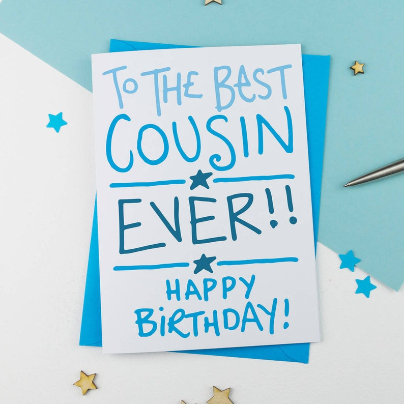 Handdrawn Cousin Card Birthday For