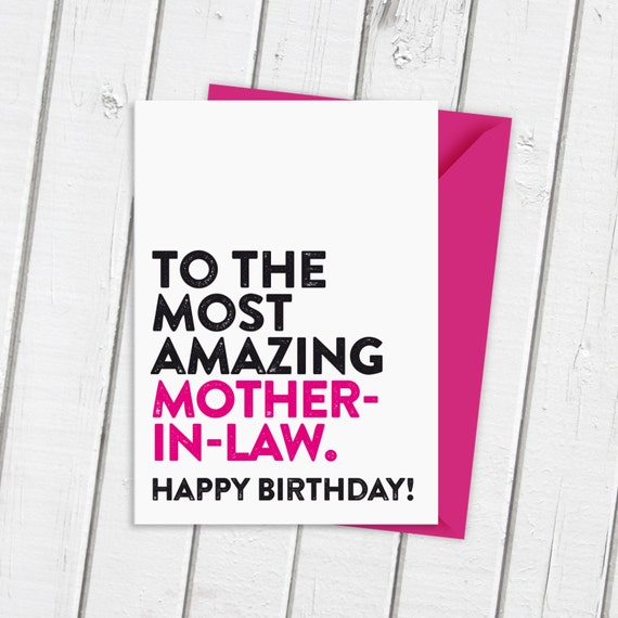 Amazing Mother In Law Birthday Card Typographic Card Etsy