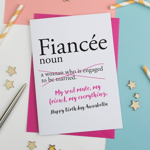 Fiancee Birthday Card Personalised Dictionary