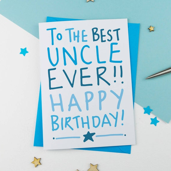 Handdrawn Uncle Card Uncle Birthday Card Birthday Card For Etsy