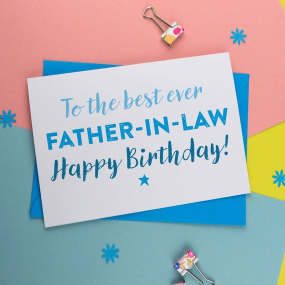Best Father In Law Ever Father In Law Birthday Card Etsy