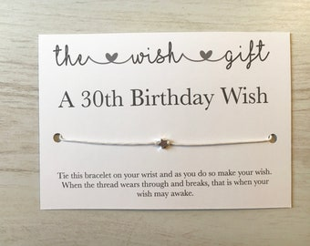 30th birthday card, 30th birthday wish bracelet, 30th bday gift, birthday card, friendship bracelet, daughter gifts, 30th birthday gift