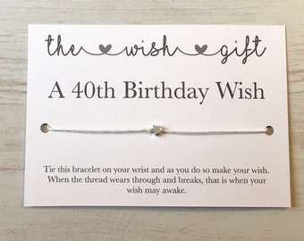 40th Birthday Card Wish Bracelet Big 40 Gift Friendship Daughter Gifts