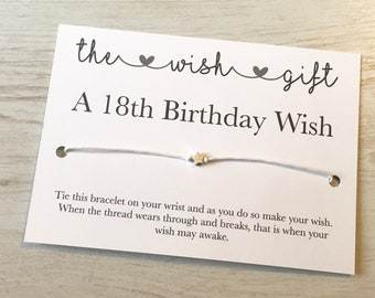 18th Birthday Card Wish Bracelet Friendship Star Daughter Gifts18th Gift