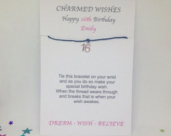 16th Birthday Wish Bracelet Gift Friendship Sweet 16 Card Personalised Present