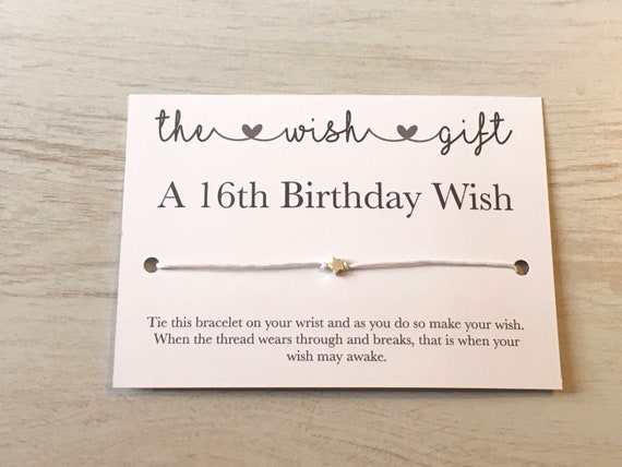 16th Birthday Card Wish Bracelet Sweet Sixteen