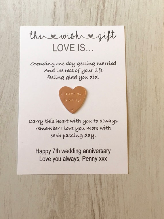 Happy I Do Day Anniversary Copper Gift Husband Wife Personalised 7 Year Wedding Other Gift Party Supplies Home Garden