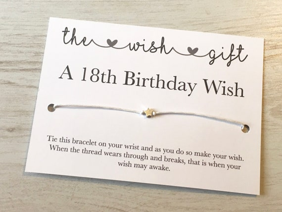 18th Birthday Card Wish Bracelet
