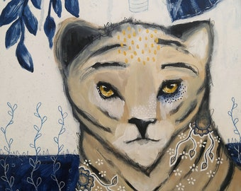 Original tiger painting acrylic whimsical mixed media art painting on wood panel 8x10 inches - Remain focused