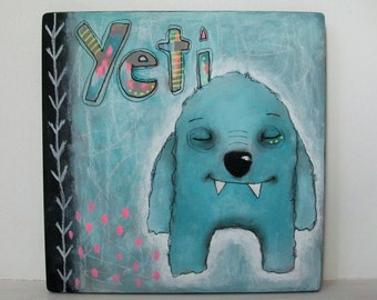 folk art painting tribal yeti whimsical acrylic art original painting Mixed media painting on mdf wood - Yeti