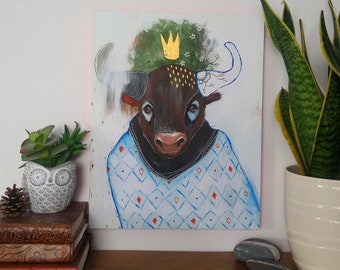 Original bull painting whimsical mixed media art on wood panel 11x14 inches - Secrets of the creator