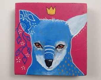 Original fox painting art on wood canvas 4x4 inches - Welcome the changes