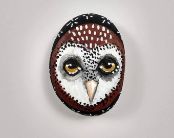 Original owl painting whimsical art painting on pebble - Haven