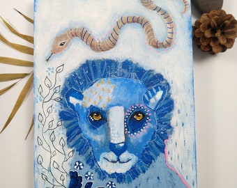 Original blue lion acrylic painting mixed media art painting on wood canvas 8x6 inches - A day of discoveries