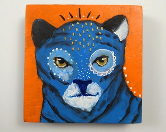 Original tiger painting art on wood canvas 4x4 inches - Of passion and power