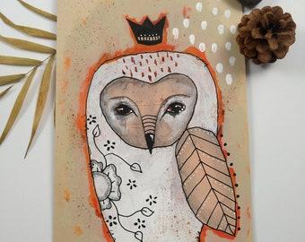 Original whimsical owl bird Mixed media acrylic folk art collage painting on art paper/card - Seeker