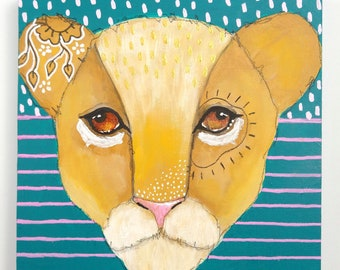 Original lion cub acrylic painting mixed media art painting on wood canvas 6x6 inches - Sawyer