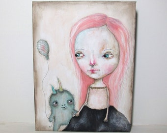 folk art mixed media painting girl animal creature original painting 18x24 cms on cradled wood panel  - Imaginary friends