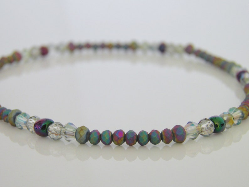 Stretchy Heart Anklet Ankle Bracelet Elasticated Purple Lilac Bead Beach Summer