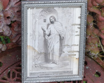 Jesus knocking door etsy vtg shabby gray tone art deco framed jesus knocking on the door as is print victorian scroll designs wood picture frame altavistaventures Gallery