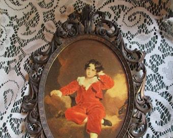 REDUCED Vtg Ornate Antique Brass Framed Master Lambton Boy In Red Print Fancy Metal Picture Frame, Made Italy