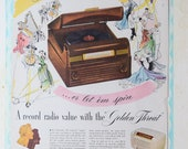 REDUCED Vtg 1940 39 s RCA Victor Radio Golden Throat Magazine Advertisement Ad Victrola Music 2 Sided Art Print, 9.5 quot x 13 quot , VGC