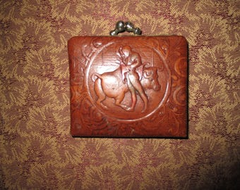 3dd1e6c1269d REDUCED Vintage Tooled Leather Bullfight Bull Matador Victorian Scroll  Designs Coin Purse