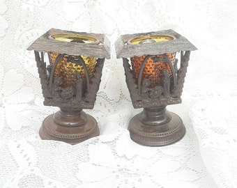 REDUCED FREE SHIP Vtg Mid Century Pair Brown Tone Syroco Style Mary Joseph Baby Jesus Religious Designs Amber Glass Candle Holders