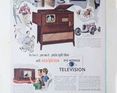 REDUCED Vtg 1940 39 s RCA Eyewitness Television Magazine Advertisement Ad 2 Sided Bystander TV Art Print, 10 quot x 13 quot , Very Good Condition