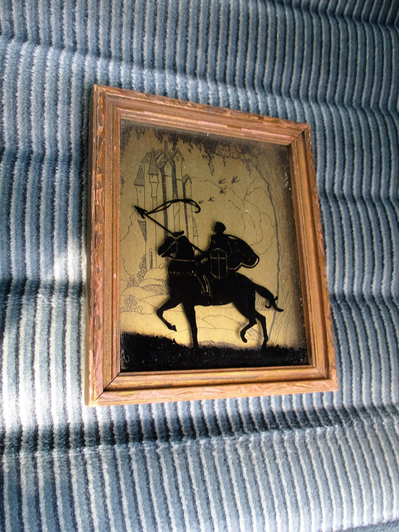 Arte de VTG Reverso de Deco vidrio pintado enmarcado caballero en ...