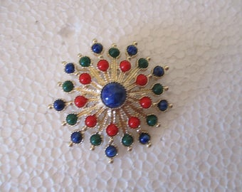 Reduced Vtg SARAH COVENTRY Faux Stones Colorful Starburst Style Design Gold Tone Brooch PIN, Sarah Cov