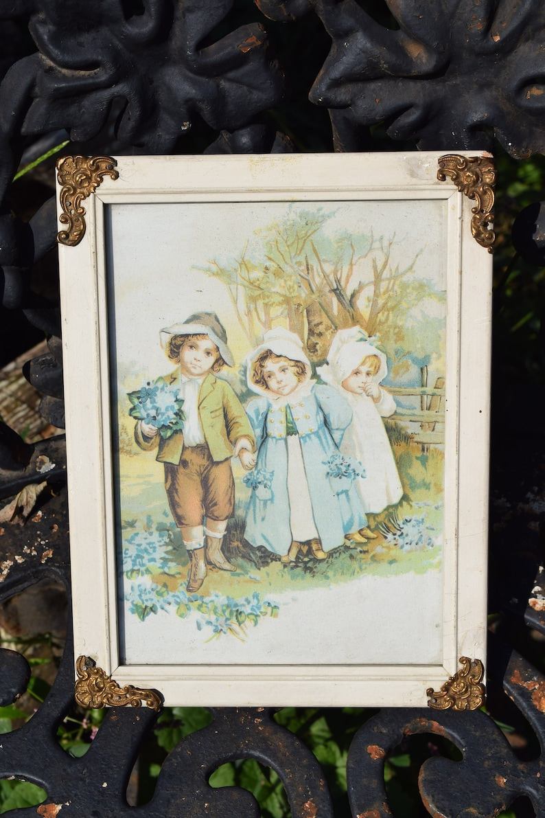 c252d514ea5 REDUCED Vtg Antique Look Shabby Cream Color Framed Young