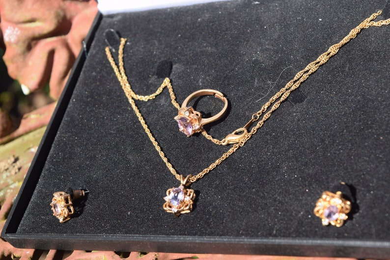 Earring and Ring Parure Set FREE SHIPPING Vtg Mid Century BuGor Faux Diamond Ameyhyst Stones Gold Tone Necklace
