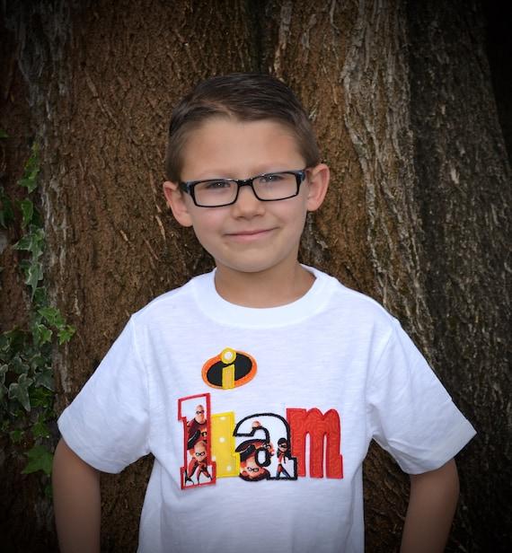 Sur mesure Boutique garçons filles Disney vacances d'anniversaire personnalisé nom logo indestructibles 2 Applique Top Shirt enfant DASH