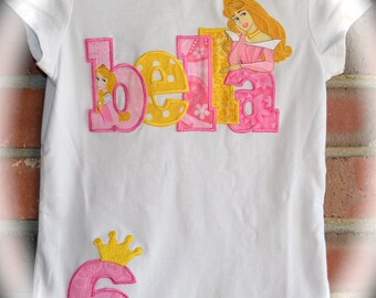Custom Boutique Girls Disney Vacation SLEEPING BEAUTY AURORA Personalized Applique Name Shirt with Birthday Number and Princess Crown
