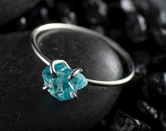 Rough gemstone ring, sterling silver, aqua blue apatite, claw setting - alternative engagement ring